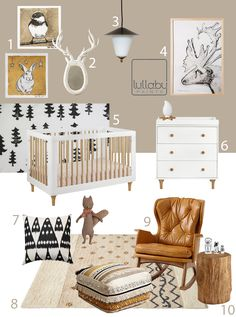 My Modern Nursery 91Winter Woodland Lullaby Paints  * I like the rug especially.  And the addition of caramels through the pieces.  Think we should do some of that since we'll have tons of grey elsewhere