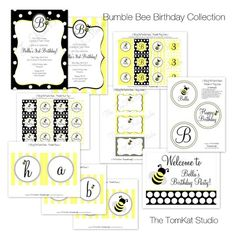 Bumble Bee Birthday Party Printable Collection | The TomKat Studio - black and yellow bee party