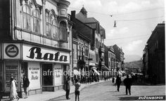 Vintage Photo: Ruzomberok Slovakia Street with BATA Shoes store, Slovakia, ca. Bata Shoes, Bratislava, Old Pictures, Vintage Photos, 1920s, Vip, Street View, Scene, Europe