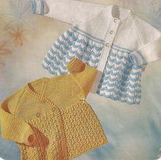 "PDF Knitting Pattern Baby Matinee Coats x 2 to fit size 19"" six months  (X282)"