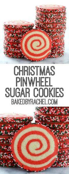 Easy Christmas pinwheel cookie recipe from @bakedbyrachel A festive holiday cookie!