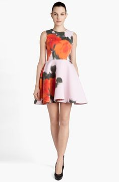 MSGM Rose Print Full Skirt Scuba Dress