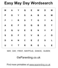 Printable May Day Puzzles. Celebrate May Day with these fun wordsearches, including an easy puzzle for younger kids. Puzzles For Kids, Games For Kids, Activities For Kids, May Days, Word Games, Riddles, Brain, Preschool, Easter