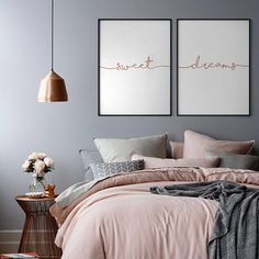 Sweet Dreams Rose Gold Print Set of 2 Rose Gold Prints Bedroom Wall Decor Copper Above Bed Art Nursery Print Copper Sweet Dream Poster Dream Bedroom, Home Decor Bedroom, Modern Bedroom, Room Decor Bedroom Rose Gold, Copper Bedroom Decor, Rose Gold Wall Decor, Master Bedroom, Bedroom Artwork, Grey Wall Bedroom