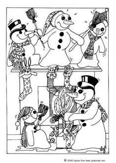snowman party coloring page
