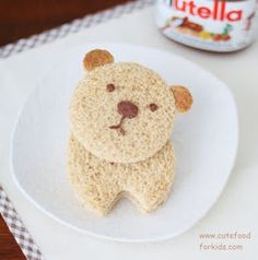 Cute bear nutella sandwich