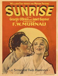 Sunrise: A song of two humans (F.W. Murnau, 1927). Poster.  Amanecer (F.W. Murnau, 1927).Póster.