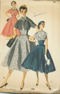 An unused original ca. 1954 Simplicity Pattern 1006.  Unique design that has a princess seamlined fully-flared 8-gore skirt that rises to create an empire waistline.  Bodice has button front closure and high neckline that can be completed with a flat collar trimmed in lace, a bow tie or collarless.  Dress is sleeveless and bolero jacket has short sleeves cut-in one with jacket body.  Jacket has flat pointed collar or can be made collarless.