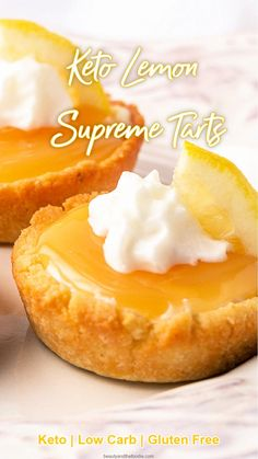 Keto Lemon Supreme Tarts are sweet, creamy, tangy and refreshing. #ketolemontarts #ketolemonpie Sugar Free Desserts, Lemon Desserts, Lemon Recipes, Dessert Recipes, Dinner Recipes, Meal Recipes, Diabetic Recipes, Yummy Recipes, Recipies