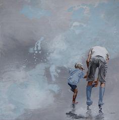 """- SAND - """"père et pieds"""" ©Sandrine Gergaud, décembre 2015. Peinture acrylique sur toile, 40x40cm"""