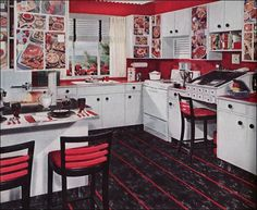 We called this one the Great Meat Decoupage Experiment - Vintage Armstrong Flooring ad from our retro files. Hippie Home Decor, Retro Home Decor, Home Decor Kitchen, Kitchen Ideas, Kitchen Interior, Kitchen Pics, 1950s Decor, Eclectic Kitchen, Interior Office