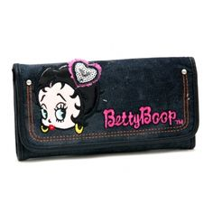 Betty Boop® Denim Checkbook Wallet with Sequin and Lace Accents - Black