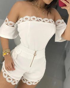 Summer Women Off Shoulder Two Piece Sets Hollow Out Crop Top And Shorts Lace Sets Short Elegant Bodycon Outfits Cute Casual Outfits, Stylish Outfits, Fashion Outfits, Womens Fashion, Fashion Wigs, Fashion Fashion, Fashion Online, Crop Top Und Shorts, Lace Shorts
