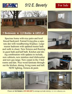 Updated home with nice patio and fenced backyard. Formal living room plus large den with woodburning fireplace. New cabinets, appliances, fixtures, flooring and lighting. Master Bath, Master Bedroom, New Cabinet, Level Homes, Backyard, Patio, Formal Living Rooms, Woodburning, Den