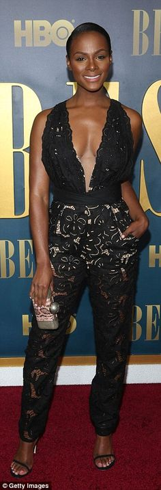 Red carpet chic: Tika, who stars as Lucille in the biopic looked fantastic in a lace jumps...