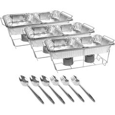 Party city Chafing Dish Buffet Set 24pc, not a bad price for how much you get. They're half size dishes though. Additional sternos are less than $2 and if I needed another chafer theyre quite inexpensive. Definitely the rout to go for self catering