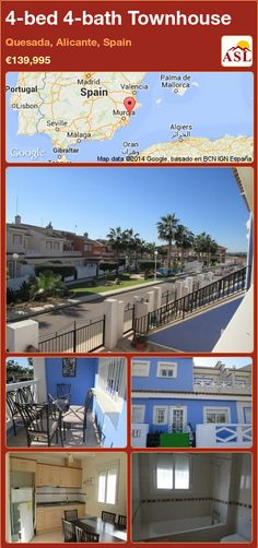 Townhouse for Sale in Quesada, Alicante, Spain with 4 bedrooms, 4 bathrooms - A Spanish Life Valencia, Portugal, Alicante Spain, Central Heating, Townhouse, Living Spaces, Spanish, Lounge, Bathroom