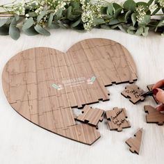 Made Lovingly Made Personalised Wood Heart Wedding Guest Puzzle ($120) ❤ liked on Polyvore featuring home, home decor, wooden home decor, heart home decor, traditional home decor and wood home decor