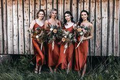Slip Bridesmaids Dresses, Wedding Dresses, Burnt Orange Bridesmaid Dresses, Hippie Bridesmaid Dresses, Chocolate Bridesmaid Dresses, Fall Wedding Bridesmaids, Bohemian Bridesmaid, Wedding Poses, Boho Wedding