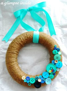 Twine Wreath - this would be such a cute wreath base and just change out buttons for whatever seasonal.  You know, for in your spare time.