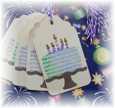 Make a Wish  Happy Birthday Cake Tags - set of 6 by HeartsCalling on Etsy