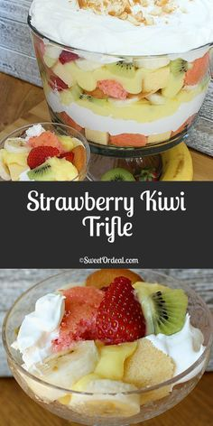 This Strawberry Kiwi Trifle has strawberry and pound cake, fresh fruit, smooth and creamy vanilla pudding and Cool Whip. Easy to make and low calorie. Trifle Dish, Trifle Desserts, Bannana Cake, Banana Pudding Cake, Layered Desserts, Easy Desserts, Delicious Desserts, Strawberry Cupcake Recipes