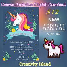 Llama Birthday, 9th Birthday, Unicorn Birthday, Unicorn Party, Birthday Ideas, Rainbow Invitations, Unicorn Invitations, Printable Birthday Invitations, Hip Hop Party