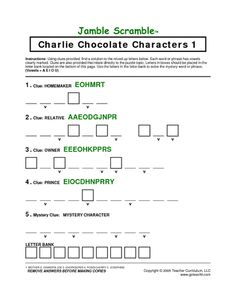Worksheets Charlie And The Chocolate Factory Worksheets 1000 images about oh what to do for reading month on pinterest more charlie and the chocolate factory includes scavenger hunts character scrambles vocabulary scramble