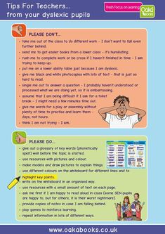 Tips for Teachers....direct from their dyslexic pupils Preschool Special Education, Gifted Education, Kids Education, Learning Disabilities, Multiple Disabilities, Charts For Kids, Dyslexia, Dysgraphia, School Psychology
