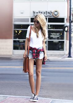(Sunglasses - Vintage, Tee - J Brand, Flannel - Urban Outfitters, Shorts - Ksubi, Satchel - Grafea, Shoes - Converse)