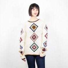 Hippie de la vendimia suéter crema marfil del arco iris de punto Granny Squares…