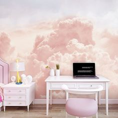 Hand Painted Abstract Sky Clouds Wallpaper Wall Mural, Beautiful Pink/Blue Clouds Exaggerated Rising Clouds Wall Mural image 0 This image. Bedroom Wall, Bedroom Decor, Wall Decor, Bedroom Murals, Bedroom Sets, Wallpaper Wall, Cleaning Walls, Pink Abstract, Pink Clouds