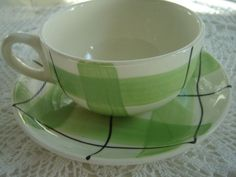 Vintage Hycroft Pottery Green Calico Cups & Saucers