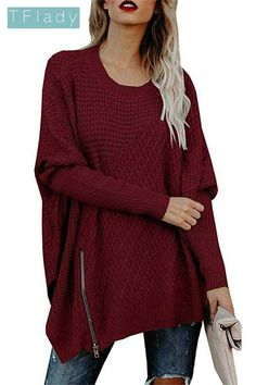 71245bcbccd Women s Pullover Sweaters - Chuanqi Womens Sweaters Oversized Batwing Pullover  Sweater Loose Off The Shoulder Knit Jumper at Women s Clothing store