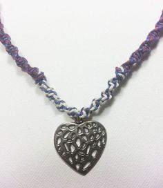 Blue Purple and White Hemp Necklace with Metal by KJsJewelryBox, $14.99
