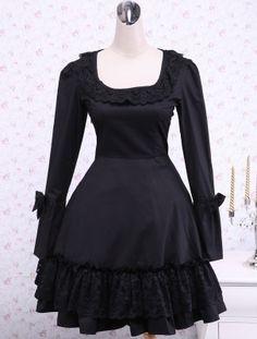 Black Long Sleeves Cross Straps Cotton Classic Lolita Dress