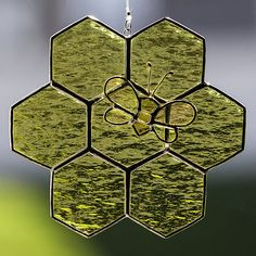 Stained glass honey bee and honeycomb suncatcher, glass bee ornament on Etsy