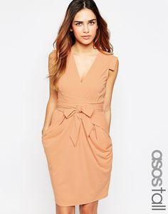 Image 1 ofASOS TALL Crepe Dress with Obi Wrap