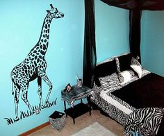 animal print room in black and blue
