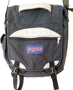 4a84b25ad4d5 Vintage Jansport Black Canvas School Messenger Crossbody Satchel Bag   JanSport  Satchel