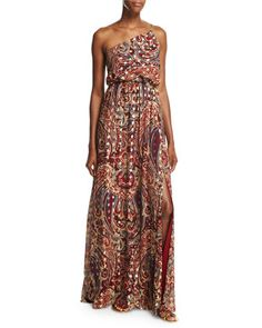 Silk One-Shoulder Paisley Column Gown, Kennedy by Haute Hippie at Neiman Marcus.