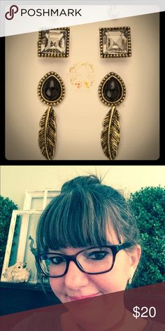 Boho Earring Set 💕 Boho earring set with four earring pairs. This listing is for the black set. Beautiful, small, everyday earring set. Please see picture for size comparison. I am wearing the feather earrings💕.  Material content: lead and nickel compliant. Imported. October Love Jewelry Earrings