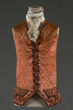 Gentleman's waistcoat, c.1780-90, silk satin coral red, embroidered with sequins, beads and tinsel