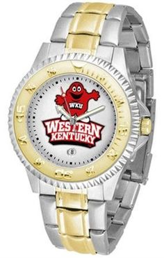 Western Kentucky University Men's Two Tone Dress Watch by SunTime. $86.95. Officially Licensed Western Kentucky Hilltoppers Men's Two Tone Dress Watch. Men. Two-Tone Stainless Steel. Gold Ion-Plated Bezel-Date Function. Links Make Watch Adjustable. Western Kentucky men's two tone gold and stainless steel dress watch. This Hilltoppers timepiece offers men a classic, business-appropriate look. Features a gold ion-plated bezel, stainless steel case and date function. Secures...