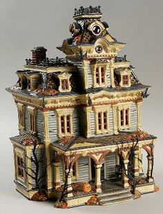 department 56 snow village halloween grimsly manor boxed
