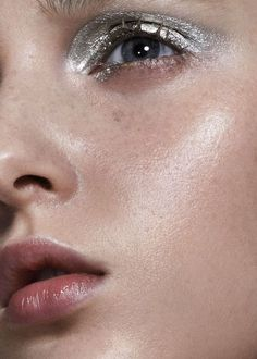 Silver eyeshadow.
