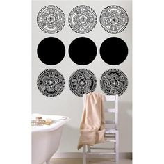 Turn your boring bathroom into an exotic escape with these Bali Wall Decals #polkadotdecor #decorating #bathroom
