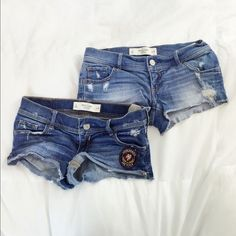 Abercrombie destroyed denim shorts From my personal closet  Sadly I no longer fit into these shorts, but they look so cute on in the summer. Abercrombie & Fitch Shorts Jean Shorts