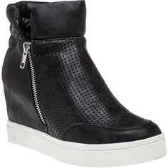 STEVE MADDEN Linqsp Black High Top Wedge Sneaker ($89) ❤ liked on Polyvore featuring shoes, sneakers, black, black sneakers, hidden wedge sneakers, steve-madden shoes, black high tops and black slip on sneakers