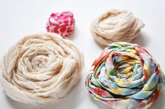 DIY Fabric Rosettes by rouse schwedhelm rouse schwedhelm Averett Fabric Rosette, Fabric Ribbon, Rosettes, Cloth Flowers, Diy Flowers, Fabric Flowers, Ribbon Crafts, Flower Crafts, Cute Crafts